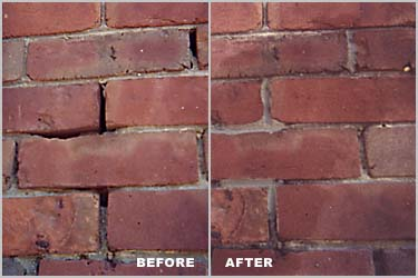 Brick pointing before and after